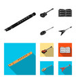 musical instrument black flat icons in set vector image