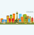osaka skyline with color buildings and blue sky vector image vector image