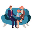 parents couple with daugether sitting in chair vector image vector image