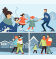 parents with kids during family winter activities vector image