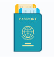 passport with tickets air travel concept vector image
