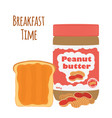 Peanut butter with toast bread with butter nuts vector image