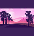 purple landscape with fields and hills vector image vector image