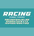 racing display font design alphabet typeface vector image vector image