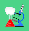 scientific research microscope and bulb vector image