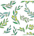 seamless pattern with leaves and olives vector image