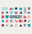 set geometric shapes flat design blue and pink vector image vector image