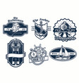 set of nautical badge design vector image