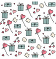 set of valentine icons in doodle style vector image vector image