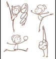 Sketches of a girl doing gymnastics vector image