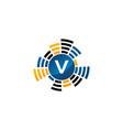 sound service production letter v vector image vector image