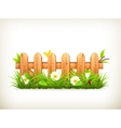 Spring grass and wooden fence vector image vector image