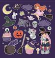 stickers halloween cartoon clipart vector image