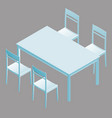 table with chairs in isometry vector image
