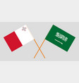the maltese and ksa flags vector image vector image