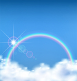 The wonderful view on the cloud with rainbow vector image