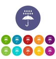 Umbrella and rain set icons vector image vector image