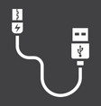 usb cable solid icon connector and charger vector image vector image