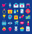 valentine day icon set in flat style vector image vector image