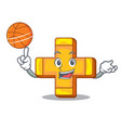 with basketball character line draw symbol plus vector image