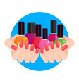 woman hands with nail polish vector image vector image