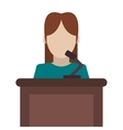woman speaking on stand icon vector image