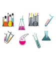 Laboratory and test tubes set vector image