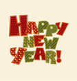 Happy new year note Christmas patchwork style vector image