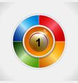 3d bingo ball over four colours disc vector image