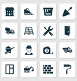 architecture icons set collection of service vector image vector image