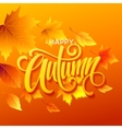Autumn leaves background with calligraphy Fall