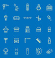 barber line color icons on blue background vector image