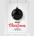black christmas ball and text on light background vector image vector image