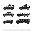 Black silhouette of military cars vector image vector image