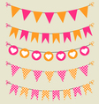 Bunting set pink and orange for scrapbook vector image vector image