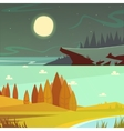 Camping Cartoon Banners Set vector image