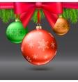 Christmas balls green fir branches bow dark vector image