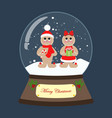 christmas snow globe with gingerbread man vector image vector image