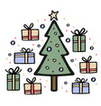 christmas tree with many gifts around hand drawn vector image