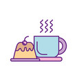 coffee cup with pudding vector image vector image
