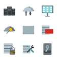 Computer protection icons set flat style vector image vector image