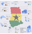 Dot And Flag Map Of Ghana Infographic Design vector image vector image