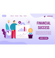 financial business management landing page design vector image vector image