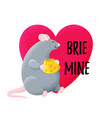 fun postcard with thick mouse rat is eating vector image