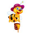 Funny Bee Cartoon with Honey Bucket vector image vector image