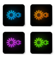 glowing neon sun with electric plug icon isolated vector image vector image