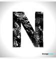 grunge letter n black font sketch style symbol vector image vector image