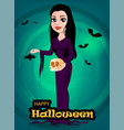 Halloween beautiful lady witch in gothic style