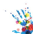 hand print with ink splatter vector image vector image