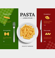 italian menu cover pasta on plate delicious vector image vector image